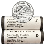 2014 Colorado Great Sand Dunes National Park Quarter - Government P/D Roll Pair