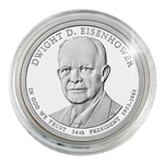 2015 Dwight D. Eisenhower Presidential Dollar - Philadelphia - Platinum Plated - Capsule