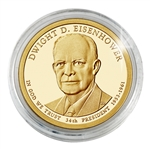 2015 Dwight D. Eisenhower Presidential Dollar - Philadelphia - Gold Plated - Capsule