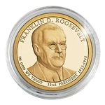 2014 Franklin D. Roosevelt Presidential Dollar - Philadelphia - Gold Plated in a Capsule