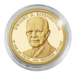 2015 Dwight D. Eisenhower Presidential Dollar - Denver - Gold Plated in Capsule