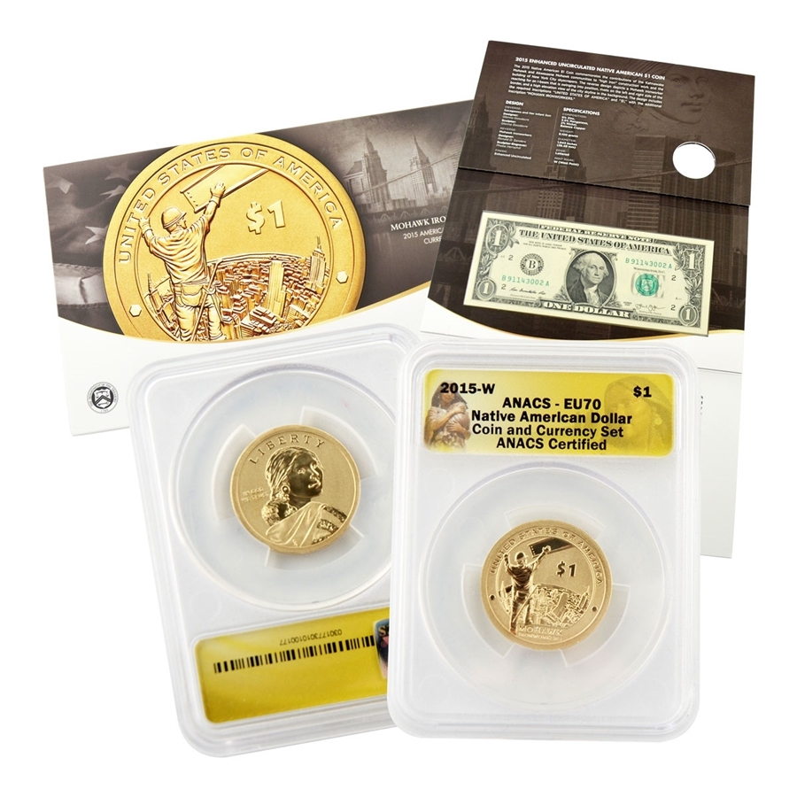2 coins set 2015 P D Native American Mohawk High Iron Worker Sacagawea Dollar $1