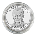 2015 Lyndon B. Johnson Presidential Dollar - Philadelphia Platinum Plated- Capsule