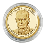 2015 Lyndon B. Johnson Presidential Dollar - Philadelphia Gold Plated- Capsule