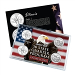 Illinois Series 1 & 2 - Four Piece Quarter Set - Uncirculated