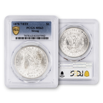 1878 7 over 8 Tail Feather Morgan - ANACS Genuine