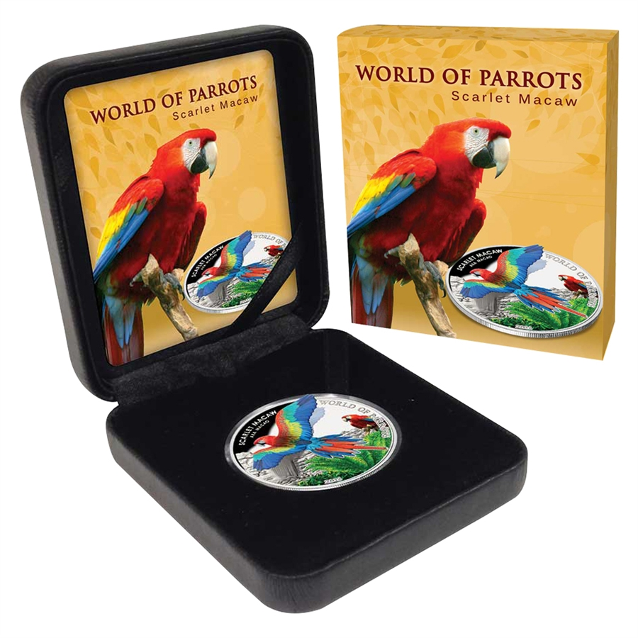 2016 Perth Mint World Parrots Scarlet Macaw 1 Oz Silver