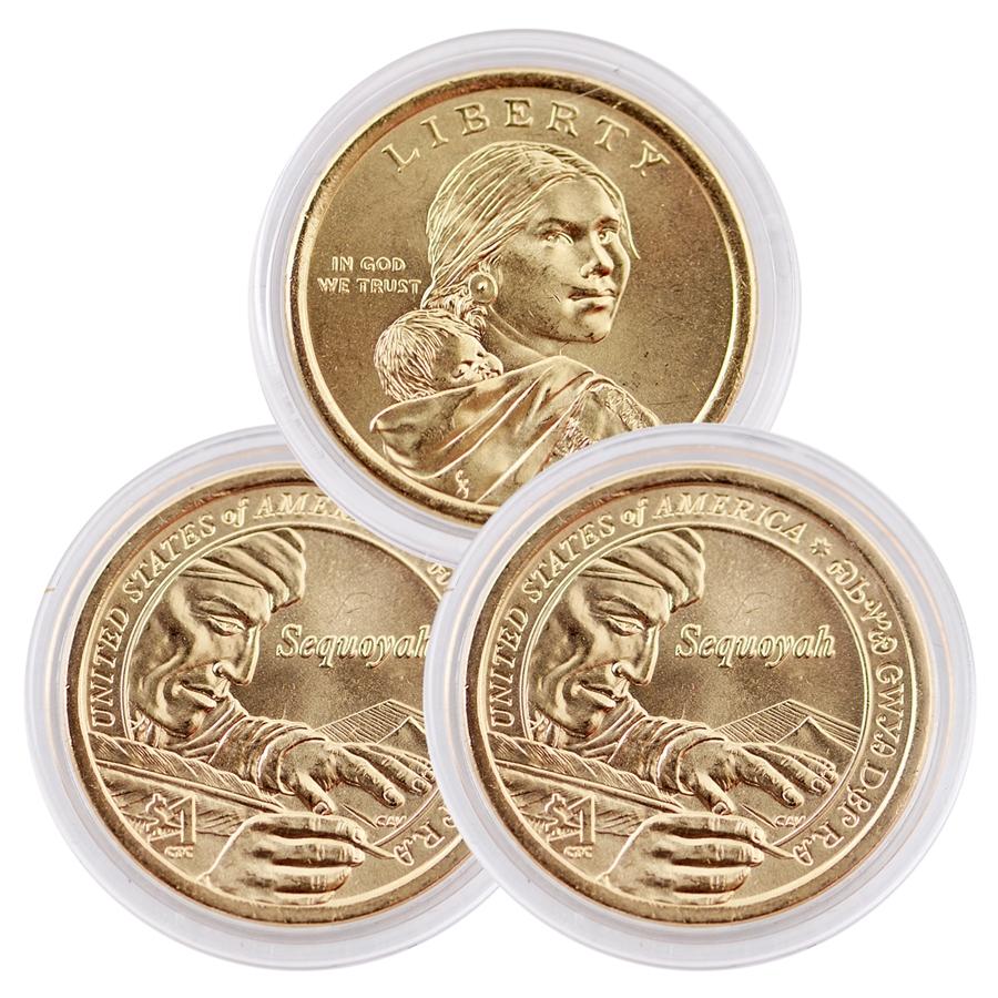 2017-P Sequoyah Native American Dollar Sacagawea $1 Uncirculated 2 Mint Rolls