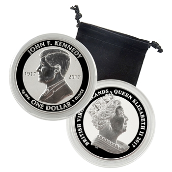 2017 BVI Kennedy - 100th Anniversary - 1oz Silver Reverse Proof