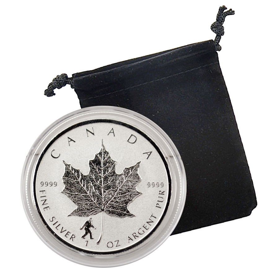 2016 Canadian Maple Leaf With Bigfoot Privy 1 Oz Silver