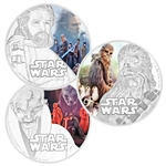 2017 Star Wars The Last Jedi 3 Coin Set - 1 oz Silver - Colorized