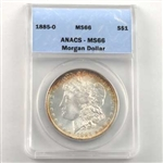 1885 Morgan Silver Dollar - New Orleans - Certified 66