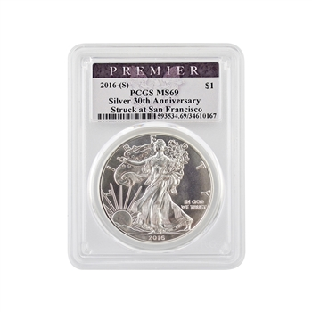 2016 Silver Eagle - San Francisco Supplemental Premier - PCGS MS69