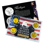 Michigan Series 1 & 2 - Four Piece Quarter Set - Gold Plated