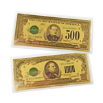 High Dollar Notes - $500 & $1000 - Uncirculated Gold Foil