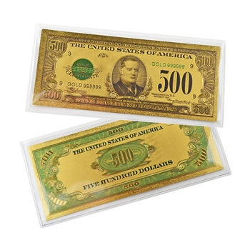 $500 Federal Reserve Note - McKinley - Uncirculated Gold Foil