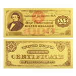 1878 $1000 Silver Note - Uncirculated Gold Foil