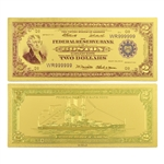 1918 $2 Battleship Note -  Uncirculated Gold Foil