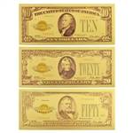 The Last Gold Certificates - 3pc Set - Gold Foil Notes