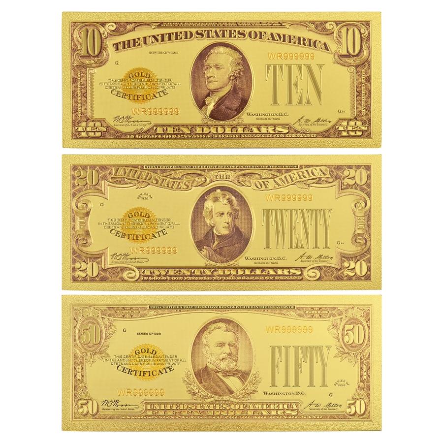 the last gold certificates 3pc set gold foil notes