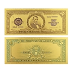 1923 $5 Lincoln - Porthole Note - Uncirculated Gold Foil