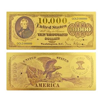 1878 Jackson $10,000 Note - Uncirculated Gold Foil
