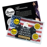 Minnesota Series 1 & 2 - Four Piece Quarter Set - Gold Plated