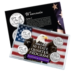 Wisconsin Series 1 & 2 - Four Piece Quarter Set - Platinum Plated