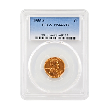 1955 San Francisco Lincoln Wheat Cent - PCGS MS66RD