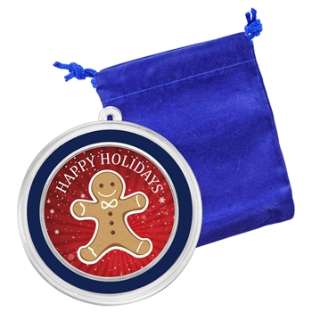 1 oz Silver Christmas Round - Gingerbread Man - Colorized