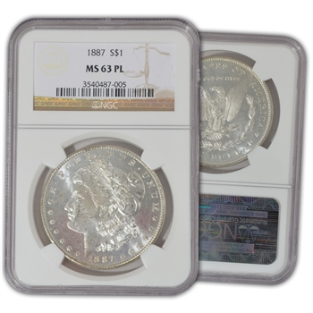 1887 Morgan Dollar - Philadelphia - NGC 63 Proof Like