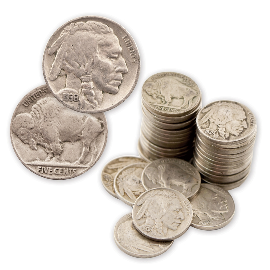 GOOD ++ 40 COINS PER ROLL 4 DIGIT FULL DATED BUFFALO NICKEL ROLLS HAND PICKED