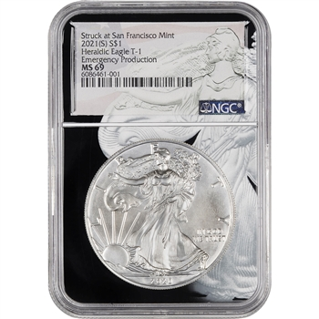 2021 Silver Eagle - S Mint Emergency - Eagle Core - NGC 69