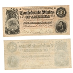 1864 $500 Confederate Note