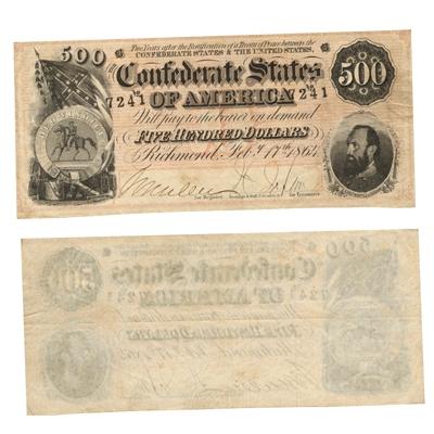 1864 $500 Confederate Note